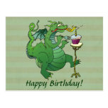 Funny Dragon Blowing Birthday Candles Postcard
