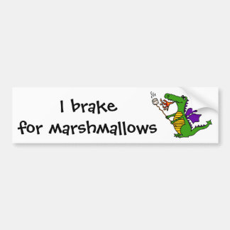 Funny Dragon Roasting Marshmallows Cartoon Car Bumper Sticker