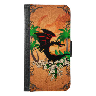 Funny dragon with palm and flowers
