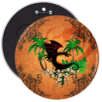 Funny dragon with palm and flowers 6 inch round button