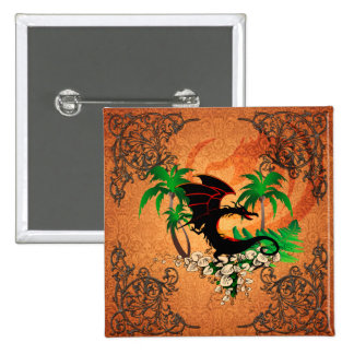 Funny dragon with palm and flowers 2 inch square button