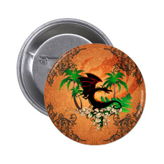 Funny dragon with palm and flowers 2 inch round button