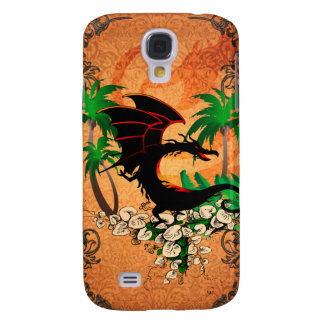 Funny dragon with palm and flowers galaxy s4 case