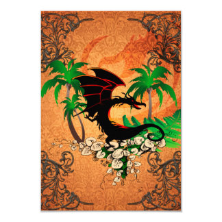 Funny dragon with palm and flowers 3.5x5 paper invitation card