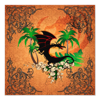 Funny dragon with palm and flowers 5.25x5.25 square paper invitation card