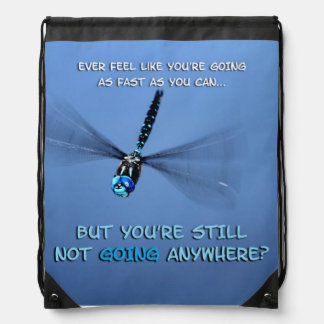 Funny Dragonfly in a Hurry Drawstring Bag
