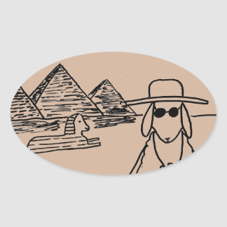Funny drawings oval sticker