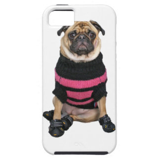 Funny dressed up pug dog with sweater and boots iPhone 5 cover