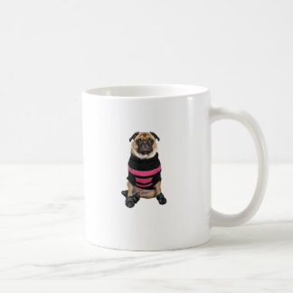 Funny dressed up pug dog with sweater and boots coffee mug