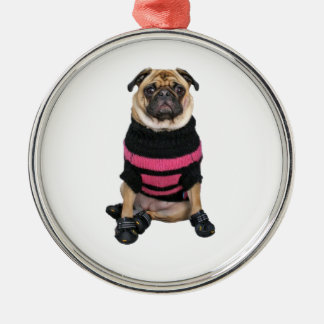 Funny dressed up pug dog with sweater and boots metal ornament