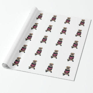 Funny dressed up pug dog with sweater and boots gift wrapping paper