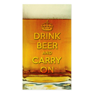 Funny drink beer and carry on business card