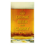 Funny drink beer and carry on business card template