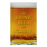 Funny drink beer and carry on print