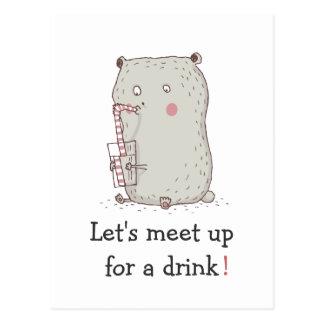 Funny Drinking Bear Drink Invitation Postcard