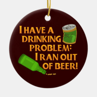 Funny Drinking Beer Ceramic Ornament