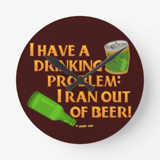 Funny Drinking Beer Round Wallclock