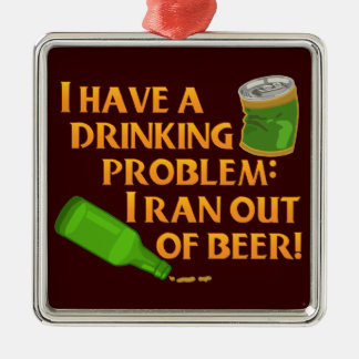 Funny Drinking Beer Square Metal Christmas Ornament