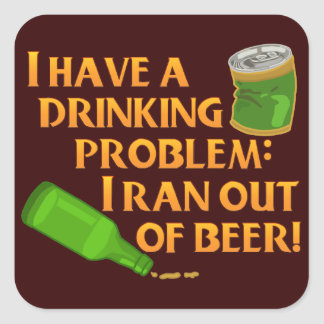 Funny Drinking Beer Square Sticker