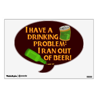 Funny Drinking Beer Wall Decal