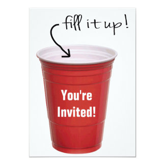 "Funny Drinking Empty Cup Booze Party 5"" X 7"" Invitation Card"