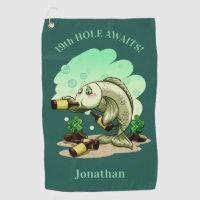 Funny Drinking Fish custom text & color golf towel