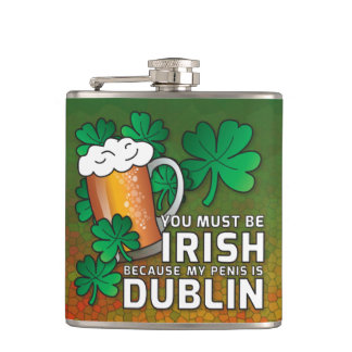 Funny Drinking St Patricks Day Pick Up Line Joke Flasks