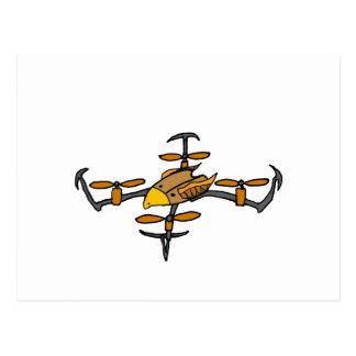 Funny Drone Flying Eagle Art Postcard