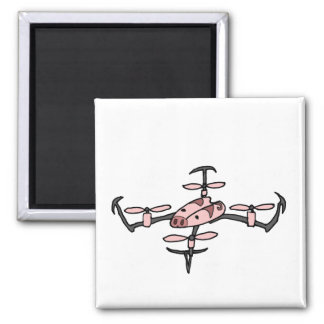 Funny Drone is Flying Pig 2 Inch Square Magnet