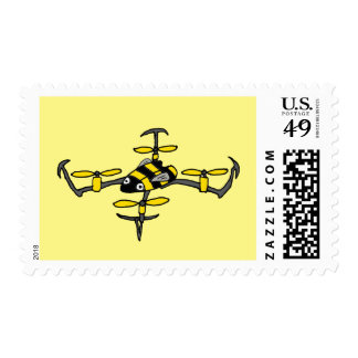 Funny Drone Yellow Jacket Bee Design Postage