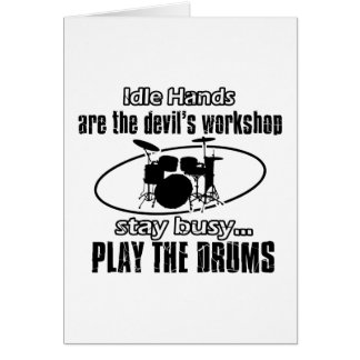 Funny drum designs greeting cards