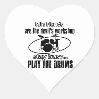 Funny drum designs heart sticker