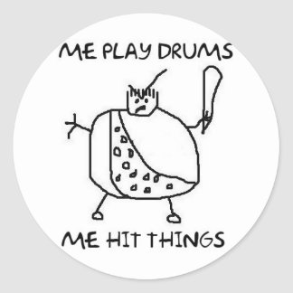Funny Drummer Play Drums Hit Things Stickers