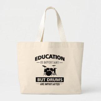 Funny Drumming Large Tote Bag