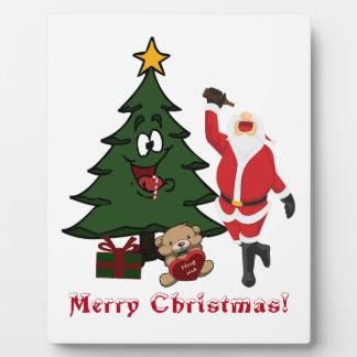 Funny Drunk Santa Christmas Tree TeddyBear Present Plaque