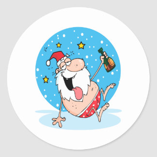 funny drunk santa on vacation classic round sticker