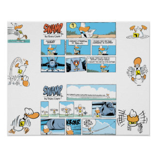 Funny Duck Aviation Comics Poster