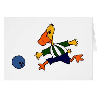 Funny Duck Bowling Cardtoon Card