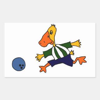 Funny Duck Bowling Cardtoon Rectangular Sticker