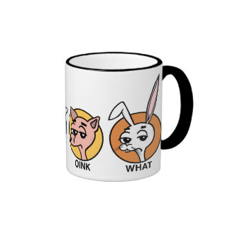 FUNNY DUCK COW PIG AND RABBIT RINGER COFFEE MUG