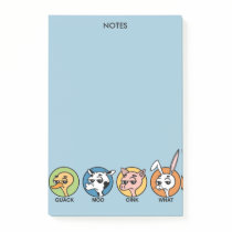 FUNNY DUCK COW PIG AND RABBIT POST IT NOTE PAD