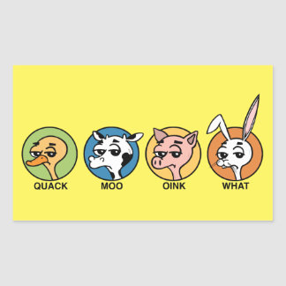 FUNNY DUCK COW PIG AND RABBIT RECTANGLE STICKERS