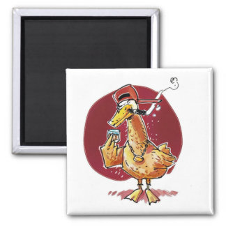 funny duck drink whiskey and smoke cigar cartoon magnet