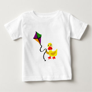 Funny Duck Flying Colorful Kite Baby T-Shirt