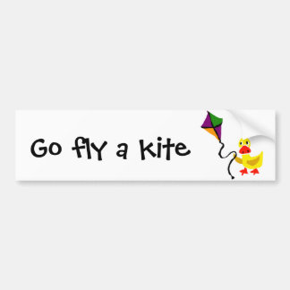 Funny Duck Flying Colorful Kite Bumper Sticker