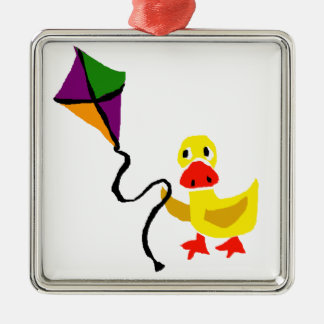 Funny Duck Flying Colorful Kite Metal Ornament