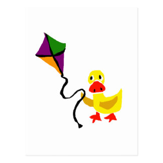 Funny Duck Flying Colorful Kite Postcard