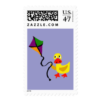 Funny Duck Flying Kite cartoon Postage