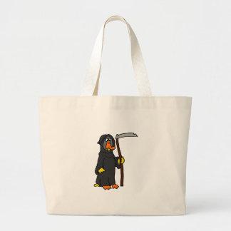 Funny Duck Grim Reaper Cartoon Large Tote Bag