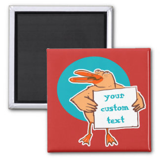 funny duck holds message sign cartoon magnet